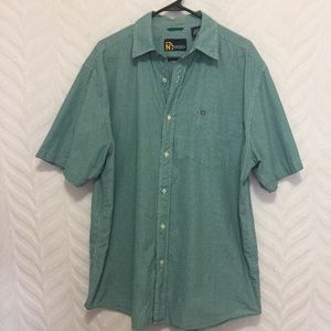 Nautica Shirt Plaid Button-up Green Blue Large